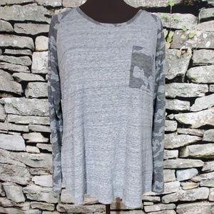 Lane Bryant Gray Camo Sleeve Shirt Size 18/20